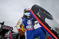 Apr 27, 2014; Baytown, TX, USA; NHRA top fuel dragster driver Antron Brown celebrates after winning the Spring Nationals at Royal Purple Raceway. Mandatory Credit: Mark J. Rebilas-