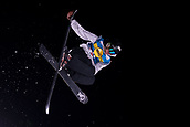 1st December 2017, Moenchengladbach, Germany;  Elias Syrja of Finland in action in the men's finals of the Big Air Freestyle Skiing World Cup at the SparkassenPark venue in Moenchengladbach, Germany, 1 December 2017.