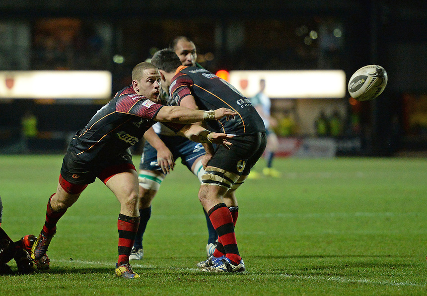 Newport Gwent Dragons' Geraint Rhys Jones whips the ball out <br /> <br /> Photographer Ian Cook/CameraSport<br /> <br /> Rugby Union - Guinness PRO12 Round 14 - Newport Gwent Dragons v Connacht - Thursday 11th February 2016 - Rodney Parade - Newport<br /> <br /> &copy; CameraSport - 43 Linden Ave. Countesthorpe. Leicester. England. LE8 5PG - Tel: +44 (0) 116 277 4147 - admin@camerasport.com - www.camerasport.com