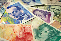 European Currencies. close up money, business, finance, international.
