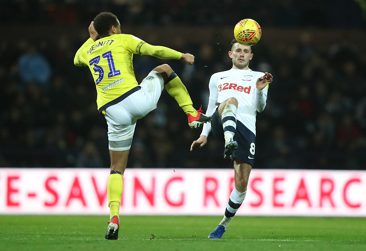 Blackburn Rovers' Elliott Bennett and Preston North End's Alan Browne<br /> <br /> Photographer Rachel Holborn/CameraSport<br /> <br /> The EFL Sky Bet Championship - Preston North End v Blackburn Rovers - Saturday 24th November 2018 - Deepdale Stadium - Preston<br /> <br /> World Copyright © 2018 CameraSport. All rights reserved. 43 Linden Ave. Countesthorpe. Leicester. England. LE8 5PG - Tel: +44 (0) 116 277 4147 - admin@camerasport.com - www.camerasport.com