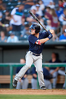 Mobile BayBears center fielder Brennon Lund (8) at bat during a game against the Jacksonville Jumbo Shrimp on April 14, 2018 at Baseball Grounds of Jacksonville in Jacksonville, Florida.  Mobile defeated Jacksonville 13-3.  (Mike Janes/Four Seam Images)