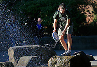 03262012-  Students toss a frisbee around during a spring day at Seattle University.