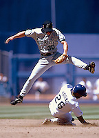 Craig Counsell of the Florida Marlins during a game at Dodger Stadium in Los Angeles, California during the 1997 season.(Larry Goren/Four Seam Images)