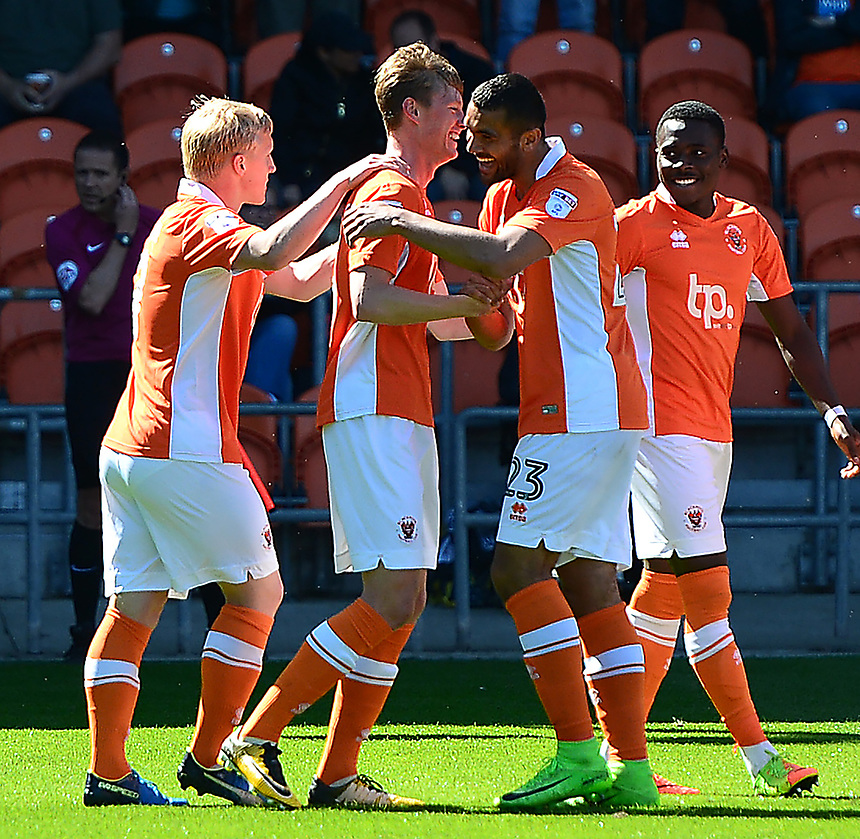 Blackpool's Sean Longstaff celebrates scoring his sides first goal with is team-mates<br /> <br /> Photographer Richard Martin-Roberts/CameraSport<br /> <br /> The EFL Sky Bet League One - Blackpool v Milton Keynes Dons - Saturday August 12th 2017 - Bloomfield Road - Blackpool<br /> <br /> World Copyright &copy; 2017 CameraSport. All rights reserved. 43 Linden Ave. Countesthorpe. Leicester. England. LE8 5PG - Tel: +44 (0) 116 277 4147 - admin@camerasport.com - www.camerasport.com