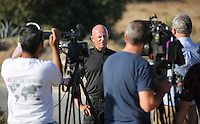 Pictured: Forensic archaeologist Dr Karl Harrison speaks to the media before the search of the new site in Kos, Greece. Friday 07 October 2016<br /> Re: Police teams led by South Yorkshire Police, searching for missing toddler Ben Needham on the Greek island of Kos have moved to a new area in the field they are searching.<br /> Ben, from Sheffield, was 21 months old when he disappeared on 24 July 1991 during a family holiday.<br /> Digging has begun at a new site after a fresh line of inquiry suggested he could have been crushed by a digger.