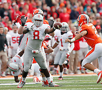 Ohio State Buckeyes defensive lineman Noah Spence (8) goes after the ball against Illinois Fighting Illini quarterback Nathan Scheelhaase (2) during the NCAA football game at Illinois on Saturday, November 16, 2013. (Columbus Dispatch photo by Barbara J. Perenic)