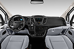 Stock photo of straight dashboard view of a 2019 Ford Transit Van 250 LR 4 Door Cargo Van