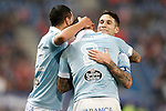 Celta de Vigo's Gustavo Cabral, Pablo Hernandez and Hugo Mallo celebrate goal during Spanish Kings Cup match. January 27,2016. (ALTERPHOTOS/Acero)
