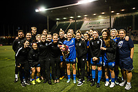 Seattle, WA - Sunday, September 24th, 2017: Elli Reed is joined by her team after announcing her retirement from soccer, following a regular season National Women's Soccer League (NWSL) match between the Seattle Reign FC and FC Kansas City at Memorial Stadium.