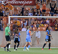 Janine Beckie (11) of the Houston Dash celebrates her goal putting Houston up 3-1 in the second half over the Chicago Red Stars on Saturday, April 16, 2016 at BBVA Compass Stadium in Houston Texas.