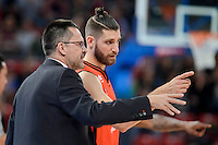 Valencia Basket's coach Pedro Martinez talking with Antoine Diot during Quarter Finals match of 2017 King's Cup at Fernando Buesa Arena in Vitoria, Spain. February 17, 2017. (ALTERPHOTOS/BorjaB.Hojas) /Nortephoto.com