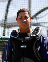 Gary Sanchez.The 16-year-old Dominican Republic native worked out for MLB scouts at the San Diego Padres training complex in Peoria, AZ on March 24, 2009. Sanchez subsequently signed a contract with the New York Yankees when eligible on July 2nd..Photo by:  Bill Mitchell/Four Seam Images.