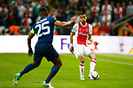 Hakim Ziyech of Ajax and Luis Antonio Valencia of Manchester United during the UEFA Europa League Final match at the Friends Arena, Stockholm. Picture date: May 24th, 2017.Picture credit should read: Matt McNulty/Sportimage