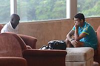 RIO DE JANEIRO-16/07/2012- O jogador Seedorf do Botafogo, visita o Capitao Thiago Silva na concentracao da Selecao no dia do embarque da Selecao Brasileira para Londres , no Hotel Sheraton, no Leblon,Zona Sul do Rio.Foto:Marcelo Fonseca-Brazil Photo Press