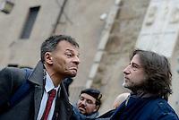 Roma, 7 Gennaio 2016<br /> Stefano Fassina e Gianluca Peciola.<br /> Flash mob in Campidoglio di SeL contro la chiusura e la privatizzazione dei nidi comunali