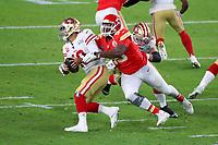 2nd February 2020, Miami Gardens, Florida, USA;   Kansas City Chiefs Defensive Tackle Chris Jones (95) pressures San Francisco 49ers Quarterback Jimmy Garoppolo (10) during the second quarter of Super Bowl LIV on February 2, 2020 at Hard Rock Stadium in Miami Gardens