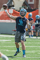 NWA Democrat-Gazette/ANTHONY REYES &bull; @NWATONYR<br /> Fuller Chandler Springdale Har-Ber quarterback throws against Springdale Friday, July 10, 2015 during the Southwest Elite 7 on 7 tournament at Jarrell Williams Bulldog Stadium in Springdale.