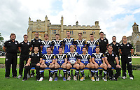 The Bath Rugby academy players and coaching staff pose for a photograph outside Farleigh House at the squad Photocall. Bath Rugby Media Day on August 21, 2012 at Farleigh House in Bath, England. Photo by: Patrick Khachfe/Onside Images
