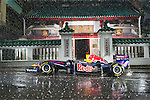 Red Bull Racing Formula 1 car pictured in front of Man Mo Temple in Hong Kong, China.