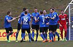Saarbr&uuml;ckens Kevin Behrens (M) jubelt nach seinem 1:0 mit dem Mannschaft  beim Spiel in der Regionalliga Suedwest, 1. FC Saarbruecken - Wormatia Worms.<br /> <br /> Foto &copy; PIX-Sportfotos *** Foto ist honorarpflichtig! *** Auf Anfrage in hoeherer Qualitaet/Aufloesung. Belegexemplar erbeten. Veroeffentlichung ausschliesslich fuer journalistisch-publizistische Zwecke. For editorial use only.