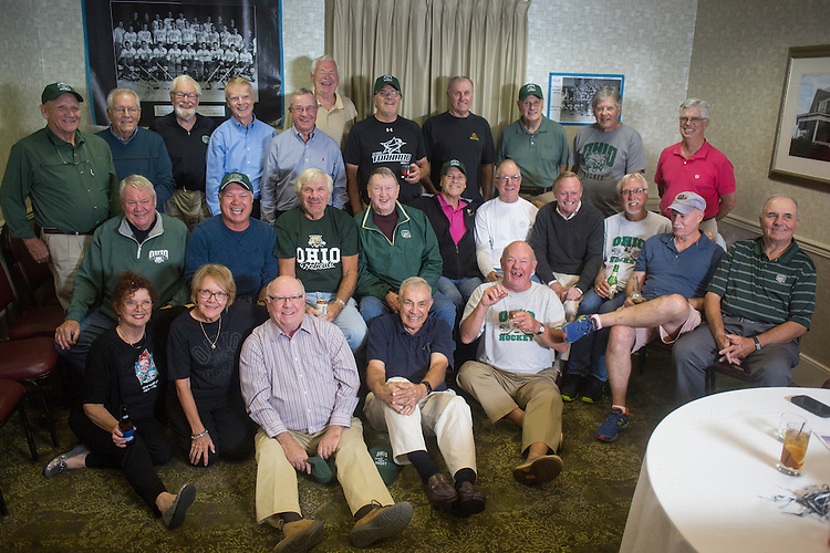 1960s Hockey Alumni From Left to Right Top: John Sebok, Bob Hayes, Tom Belton, Jerry Nuerge, Dave Farnsworth, John Gardner, Alex MacNicol, Mike Grocki, Jake Peterson, Dennis Corbett, Tiff Cook<br /> Middle Row: Bing Carlson, Tom Gosiorowski, Joe Zieleniewski, Al Haines, Pete Sisson, Harry Williams, Ken Arvidson, Frank Meyers, Dick Hendrie, Kick Homoveo<br /> Bottom Row: Trudy Nash, Jane Carlson, Ken Gamble, Mike L'Heureux, Doug Smith