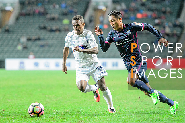 SC Kitchee Defender Kin Man Tong (R) is chased by Auckland City Forward Micah Lea Alafa (L) during the Nike Lunar New Year Cup 2017 match between SC Kitchee (HKG) and Auckland City FC (NZL) on January 31, 2017 in Hong Kong, Hong Kong. Photo by Marcio Rodrigo Machado / Power Sport Images
