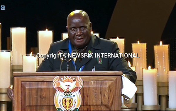 Qunu, South Africa: 15.12.2013: STATE FUNERAL FOR NELSON MANDELA<br /> DR KENNETH KAUNDA (former President of Zambia)<br /> makes an address at the Funeral Service for former President Nelson Mandela in Qunu, Eastern Cape, South Africa<br /> Mandatory Credit Photo: &copy;NEWSPIX INTERNATIONAL<br /> <br /> **ALL FEES PAYABLE TO: &quot;NEWSPIX INTERNATIONAL&quot;**<br /> <br /> IMMEDIATE CONFIRMATION OF USAGE REQUIRED:<br /> Newspix International, 31 Chinnery Hill, Bishop's Stortford, ENGLAND CM23 3PS<br /> Tel:+441279 324672  ; Fax: +441279656877<br /> Mobile:  07775681153<br /> e-mail: info@newspixinternational.co.uk