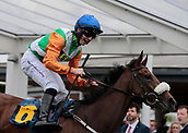 June 10th 2017, Chester Racecourse, Cheshire, England; Chester Races Horse racing; Jockey Adam McNamara cannot hide his delight at the winning post on Starlight Romance in the Liverpool Gin Stakes