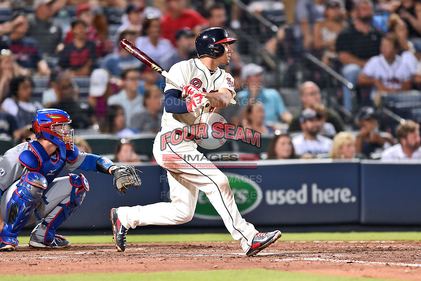 Atlanta Braves second baseman Jace Peterson (8) swings at a pitch during a game against the Chicago Cubs on July 18, 2015 in Atlanta, Georgia. The Cubs defeated the Braves 4-0. (Tony Farlow/Four Seam Images)
