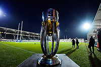 The series trophy on display before the 2019 Super Rugby final between the Crusaders and Jaguares at Orangetheory Stadium in Christchurch, New Zealand on Saturday, 6 July 2019. Photo: Dave Lintott / lintottphoto.co.nz