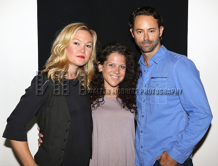 """Julia Stiles, Jennifer DeLia and James Wirt attend the """"Phoenix"""" Cast Photo Call at their rehearsal studio on July 9, 2014 in New York City."""