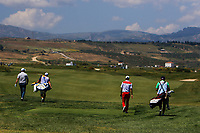 Thomas Bjorn (DEN) and Eunshin Park (KOR) on the 9th during Round 3 of the Rocco Forte Sicilian Open 2018 played at Verdura Resort, Agrigento, Sicily, Italy on Saturday 12th May 2018.<br /> Picture:  Thos Caffrey / www.golffile.ie<br /> <br /> All photo usage must carry mandatory copyright credit (&copy; Golffile | Thos Caffrey)
