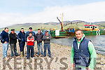Patrick O'Sullivan (commette member of Castlemaine Harbour Co Op) Back L-R Fisherman: Daniel O'Sullivan, James Teahan, Jamie Kennedy, Denis Teahan, James O'Sullivan, Liam Teahan, Patrick Teahan at Cromane Pier last Saturday.