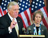 United States House Majority Leader Steny Hoyer (Democrat of Maryland), left, makes a statement as he and other Democratic Leaders meet reporters to announce the savings to the federal budget by their health care reform effort in the U.S. Capitol in Washington, D.C. on Thursday, March 18, 2010..Credit: Ron Sachs / CNP