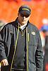 Nov 27, 2010; Kansas City, MO, USA; Missouri Tigers head coach Gary Pinkel watches the team warmup before the game against the Kansas Jayhawks at Arrowhead Stadium. Missouri won 35-7. Mandatory Credit: Denny Medley-US PRESSWIRE