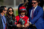 March 16, 2019: Midnight Bisou #2, ridden by Mike Smith, wins the Azeri Stakes on Rebel Stakes Day at Oaklawn Park in Hot Springs, Arkansas. Carolyn Simancik/Eclipse Sportswire/CSM