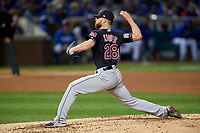 Cleveland Indians Corey Kluber (28) delivers a pitch in the fourth inning during Game 4 of the Major League Baseball World Series against the Chicago Cubs on October 29, 2016 at Wrigley Field in Chicago, Illinois.  (Mike Janes/Four Seam Images)