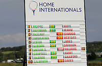 One of the score boards during the Afternoon Singles between Ireland and Wales at the Home Internationals at Royal Portrush Golf Club on Thursday 13th August 2015.<br /> Picture:  Thos Caffrey / www.golffile.ie