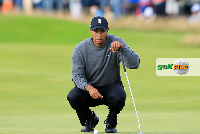 Tiger Woods (USA) lines up his putt on the 13th green during Friday's Round 2 of the 141st Open Championship at Royal Lytham & St.Annes, England 20th July 2012 (Photo Eoin Clarke/www.golffile.ie)