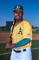 AZL Athletics Gold Joshwan Wright (4) poses for a photo before an Arizona League game against the AZL Rangers on July 15, 2019 at Hohokam Stadium in Mesa, Arizona. The AZL Athletics Gold defeated the AZL Rangers 9-8 in 11 innings. (Zachary Lucy/Four Seam Images)