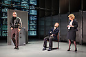 Hampstead Theatre presents HAPGOOD, by Tom Stoppard, directed by Howard Davies. Picture shows: Gerald Kyd (Ridley), Nick Blakely (Maggs), Lisa Dillon (Hapgood).