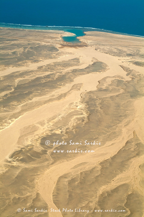 Desert landscape and coastline, Red Sea, Egypt.