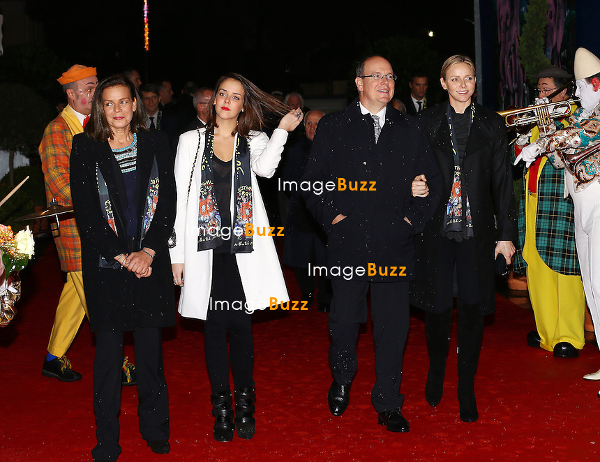 Prince Albert and Princess Charlene of Monaco with H. S. H. Princess Stephanie and her daughter Pauline Ducruet attend the 38th Monte-Carlo Circus Festival opening ceremony. Monaco, January 16, 2014.