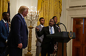 Terrance Williams speaks as United States President Donald J. Trump listens at the Young Black Leadership Summit 2019 at the White House in Washington, D.C. on Friday October 4, 2019.   <br /> Credit: Tasos Katopodis / Pool via CNP
