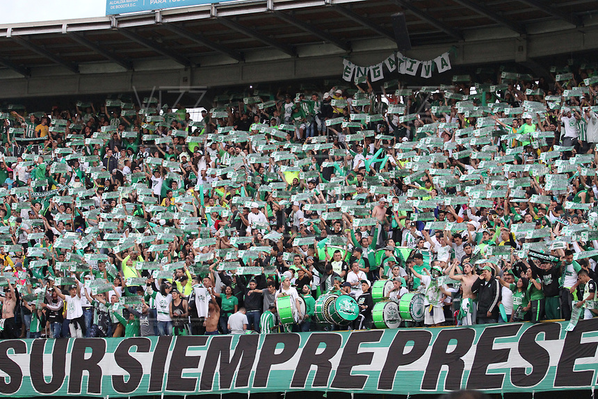 BOGOTÁ - COLOMBIA, 10-08-2019:Hinchas del Atlético Nacional durante el encuentro contra La Equidad partido por la fecha 5 de la Liga Águila II 2019 jugado en el estadio Nemesio Camacho El Campín  de la ciudad de Bogotá. /Fans of Atletico Nacional during match agaisnt of Equidad match for the date 5th of the Liga Aguila II 2019 played at Nemesio Camacho El Campin  stadium in Bogota city. Photo: VizzorImage / Felipe Caicedo / Staff.