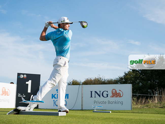 Haydn Porteous (RSA) in action on the 1st hole during the 3rd round at the KLM Open, The International, Amsterdam, Badhoevedorp, Netherlands. 14/09/19.<br /> Picture Stefano Di Maria / Golffile.ie<br /> <br /> All photo usage must carry mandatory copyright credit (© Golffile | Stefano Di Maria)