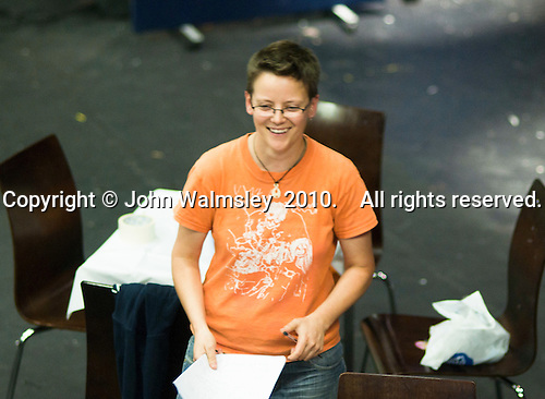"""Fame, Faust & Flying Colours"", following musical theatre rehearsal, the director gives her notes.  Further Education College."