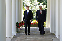 US President Donald J. Trump (R) with Polish President Andrzej Duda (L) arrive to a joint press conference in the Rose Garden of the White House in Washington, DC, USA, 12 June 2019. Earlier President Trump and President Duda signed an agreement to increase military to military cooperation including the purchase of F-35 fighter jets by Poland and an increased US troop presence in Poland. <br /> Credit: Shawn Thew / Pool via CNP/AdMedia