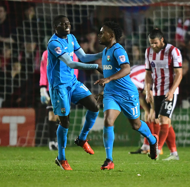 Barnet's Shaquile Coulthirst, right, celebrates scoring his sides first goal with team-mate Wesley Fonguck<br /> <br /> Photographer Andrew Vaughan/CameraSport<br /> <br /> The EFL Sky Bet League Two - Tuesday 26th September 2017 - Lincoln City v Barnet - Sincil Bank - Lincoln<br /> <br /> World Copyright &copy; 2017 CameraSport. All rights reserved. 43 Linden Ave. Countesthorpe. Leicester. England. LE8 5PG - Tel: +44 (0) 116 277 4147 - admin@camerasport.com - www.camerasport.com